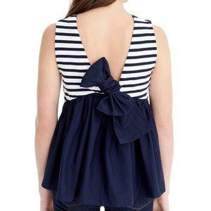 < J. Crew > stripe back bow tie tank top